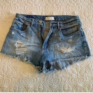 "High waisted ""Festival"" Jean shorts (Size 3)"